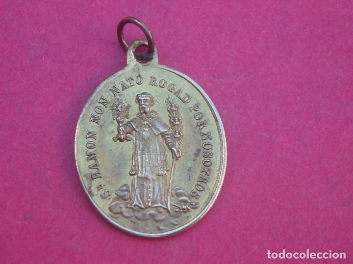 MEDALLA SIGLO XIX SAN RAMÓN NONATO Y VIRGEN DE LA MERCED. (Antigüedades - Religiosas - Medallas Antiguas)