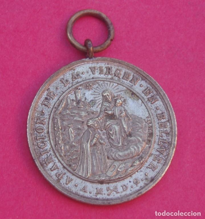 MEDALLA ANTIGUA BEATO ALFONSO RODRÍGUEZ. APARICIÓN DE LA VIRGEN EN BELLVER. MALLORCA. (Antigüedades - Religiosas - Medallas Antiguas)