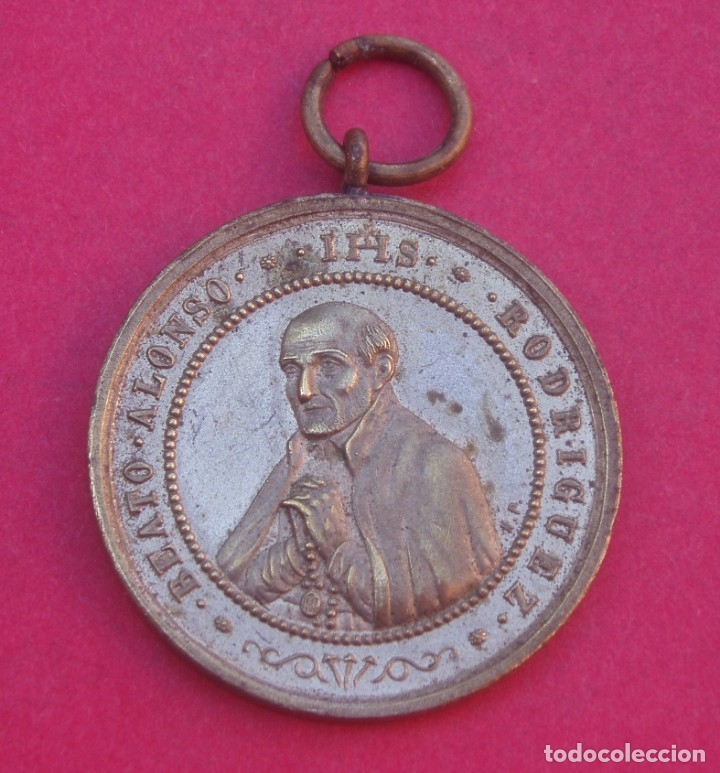 Antigüedades: Medalla Antigua Beato Alfonso Rodríguez. Aparición de la Virgen en Bellver. Mallorca. - Foto 2 - 172647373