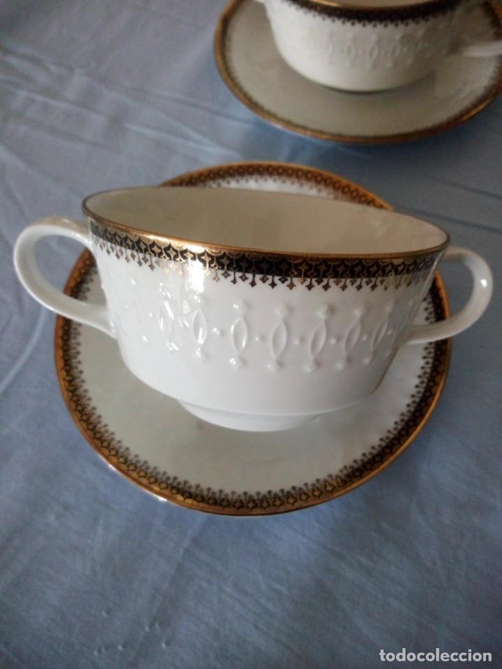 Antigüedades: Preciosa juego de consomé,12 piezas de porcelana mitterteich bavaria decoración negro y oro. - Foto 3 - 172654818