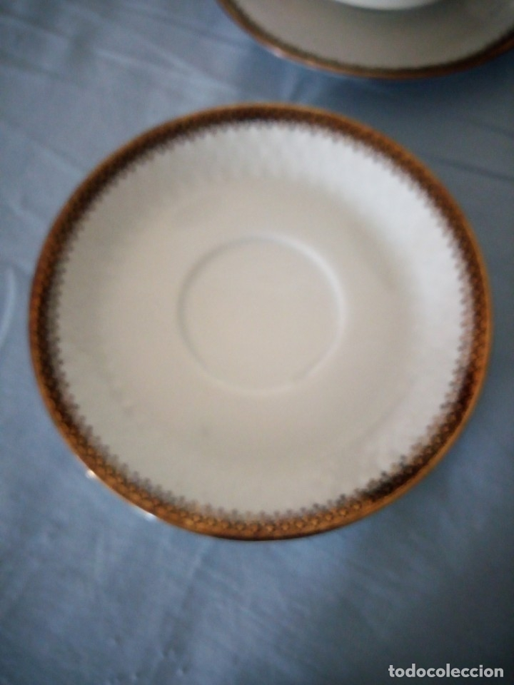 Antigüedades: Preciosa juego de consomé,12 piezas de porcelana mitterteich bavaria decoración negro y oro. - Foto 4 - 172654818