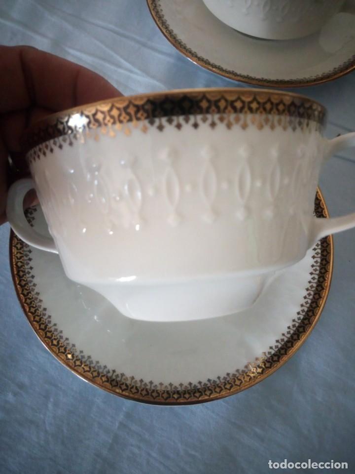 Antigüedades: Preciosa juego de consomé,12 piezas de porcelana mitterteich bavaria decoración negro y oro. - Foto 6 - 172654818