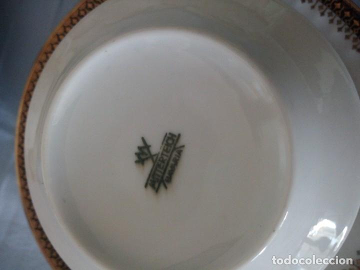 Antigüedades: Preciosa juego de consomé,12 piezas de porcelana mitterteich bavaria decoración negro y oro. - Foto 7 - 172654818