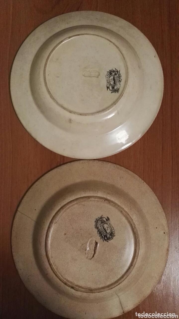 Antigüedades: Pareja de platos de cerámica. Fábrica Cartagena. Decoración cinegética. - Foto 3 - 172658180