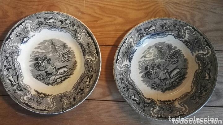 Antigüedades: Pareja de platos de cerámica. Fábrica Cartagena. Decoración cinegética. - Foto 5 - 172658180