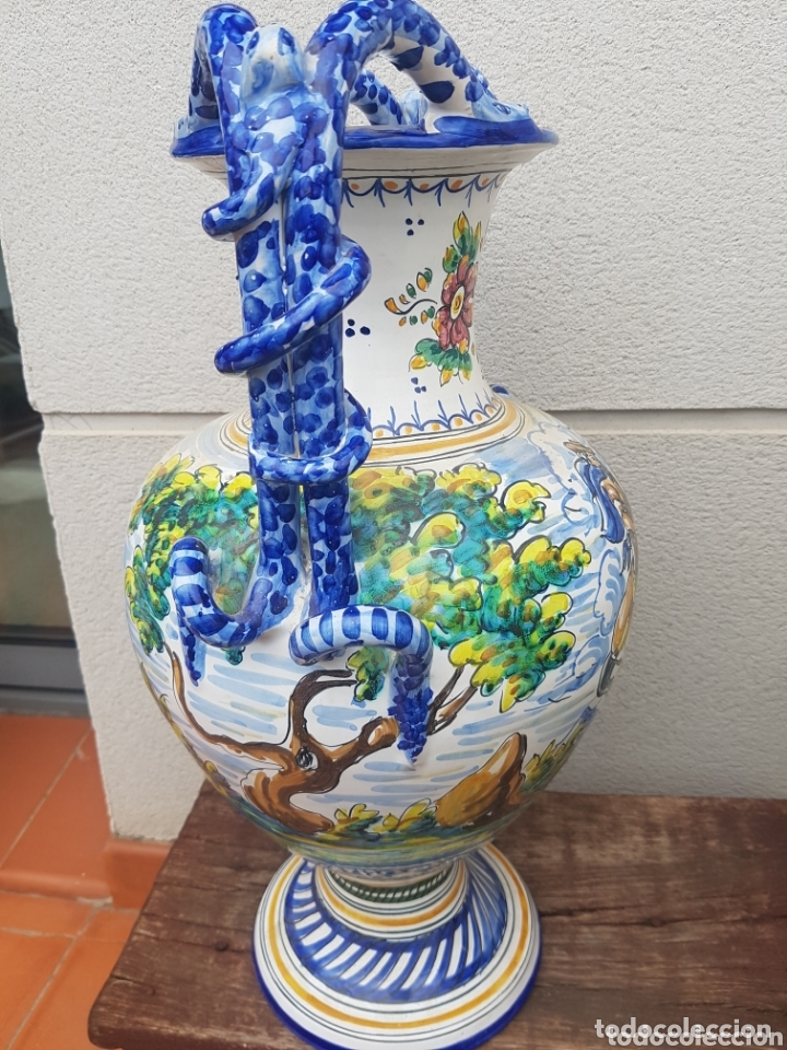 Antigüedades: Gran Jarron ánfora cerámica de Talavera asa de serpiente - Foto 7 - 172668085