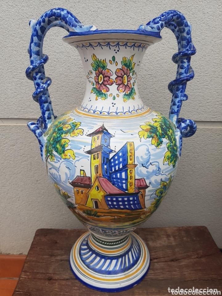 GRAN JARRON ÁNFORA CERÁMICA DE TALAVERA ASA DE SERPIENTE (Antigüedades - Porcelanas y Cerámicas - Talavera)