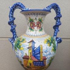 Antigüedades: GRAN JARRON ÁNFORA CERÁMICA DE TALAVERA ASA DE SERPIENTE. Lote 172668085