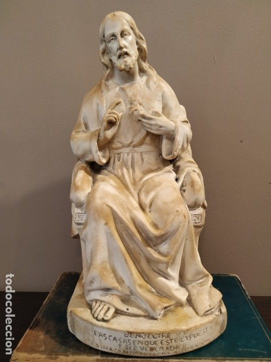 SAGRADO CORAZÓN ESTUCO HUECO (Antigüedades - Religiosas - Varios)