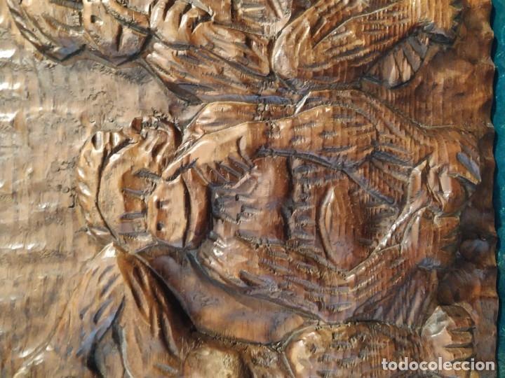 Antigüedades: LOS TRES MONOS SABIOS - BAJO RELIEVE MADERA - Foto 3 - 172669092