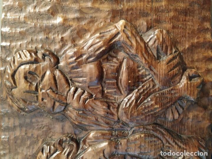 Antigüedades: LOS TRES MONOS SABIOS - BAJO RELIEVE MADERA - Foto 4 - 172669092