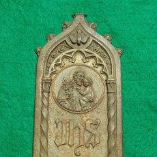 Antigüedades: MUY ANTIGUA Y ESCASA BENDITERA METÁLICA DE LOS PADRES JESUITAS CON INSCRIPCION IHS.. Lote 172696827