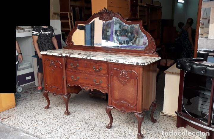 Antigüedades: Aparador antiguo estilo chippendale. Bufet, trinchero, mueble de salón espejo estilo inglés vintage. - Foto 2 - 172723414