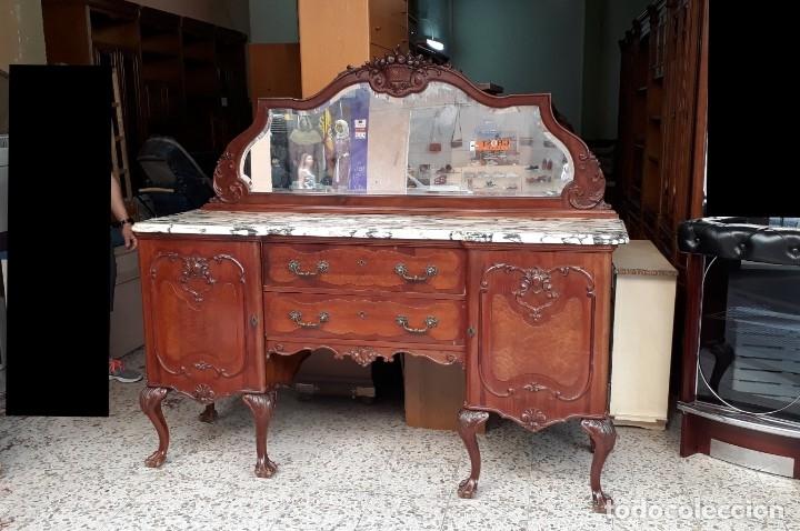 Antigüedades: Aparador antiguo estilo chippendale. Bufet, trinchero, mueble de salón espejo estilo inglés vintage. - Foto 4 - 172723414