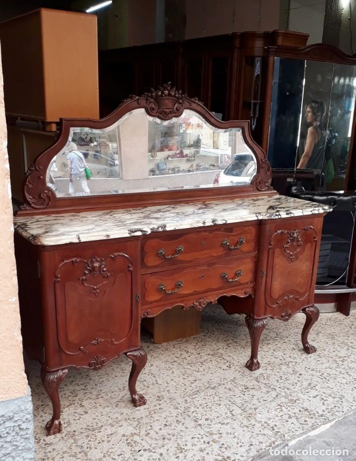 Antigüedades: Aparador antiguo estilo chippendale. Bufet, trinchero, mueble de salón espejo estilo inglés vintage. - Foto 5 - 172723414