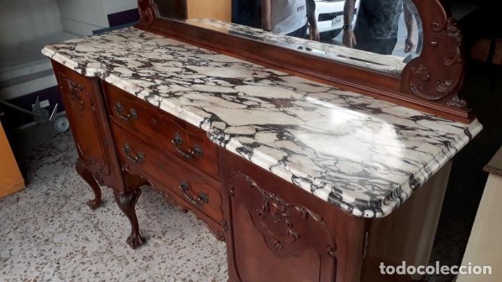 Antigüedades: Aparador antiguo estilo chippendale. Bufet, trinchero, mueble de salón espejo estilo inglés vintage. - Foto 6 - 172723414