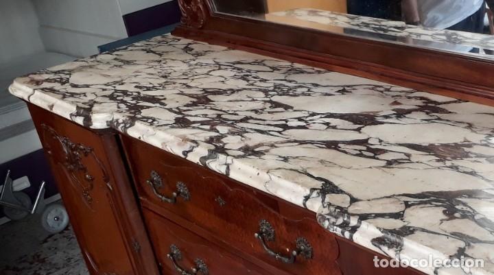 Antigüedades: Aparador antiguo estilo chippendale. Bufet, trinchero, mueble de salón espejo estilo inglés vintage. - Foto 7 - 172723414