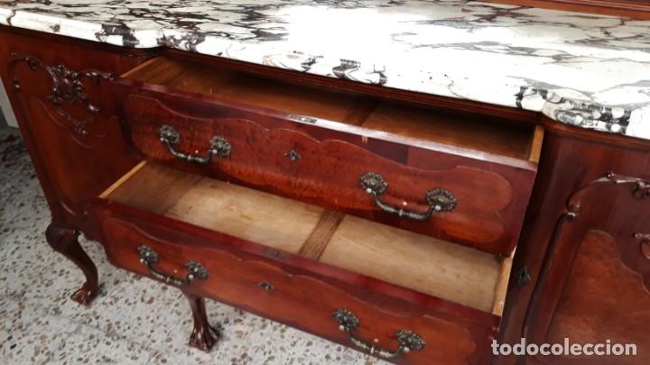 Antigüedades: Aparador antiguo estilo chippendale. Bufet, trinchero, mueble de salón espejo estilo inglés vintage. - Foto 14 - 172723414