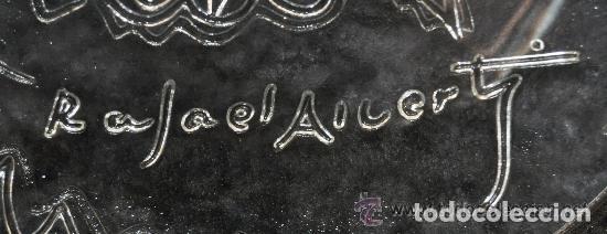 Antigüedades: Plato cristal Rafael Alberti Paloma de la Paz calidad coleccion - Foto 3 - 172740512