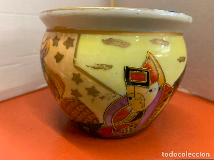 Antigüedades: Precioso macetero de porcelana o ceramica china. Mide 10,5cms diametro y 8cm altura - Foto 6 - 172765275
