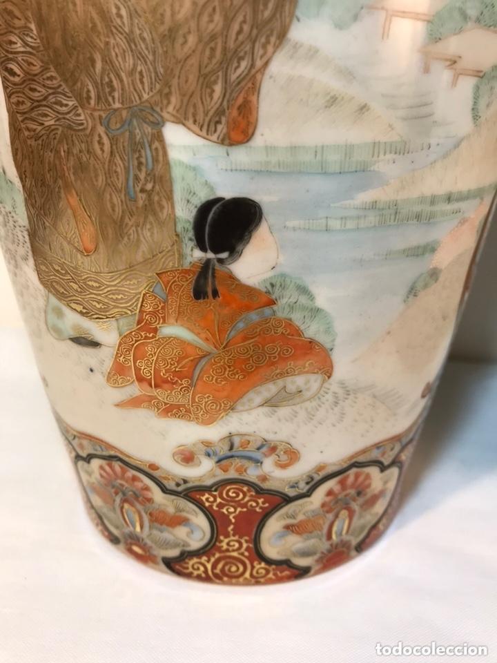 Antigüedades: 2 Jarrones Porcelana- Japón- Kutani- 33 cm - Foto 2 - 172779528