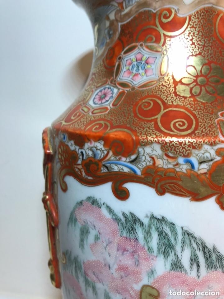 Antigüedades: 2 Jarrones Porcelana- Japón- Kutani- 33 cm - Foto 4 - 172779528