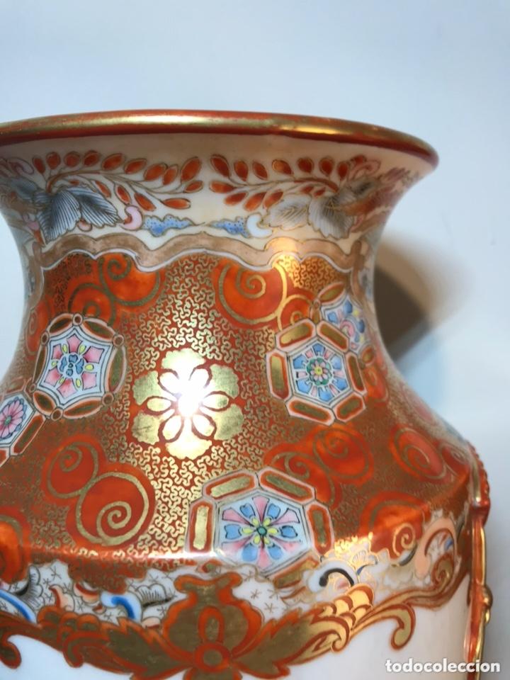 Antigüedades: 2 Jarrones Porcelana- Japón- Kutani- 33 cm - Foto 5 - 172779528