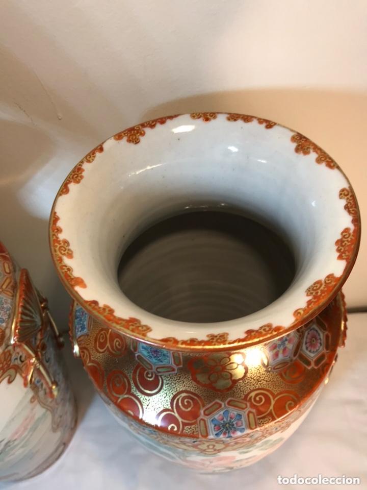 Antigüedades: 2 Jarrones Porcelana- Japón- Kutani- 33 cm - Foto 7 - 172779528