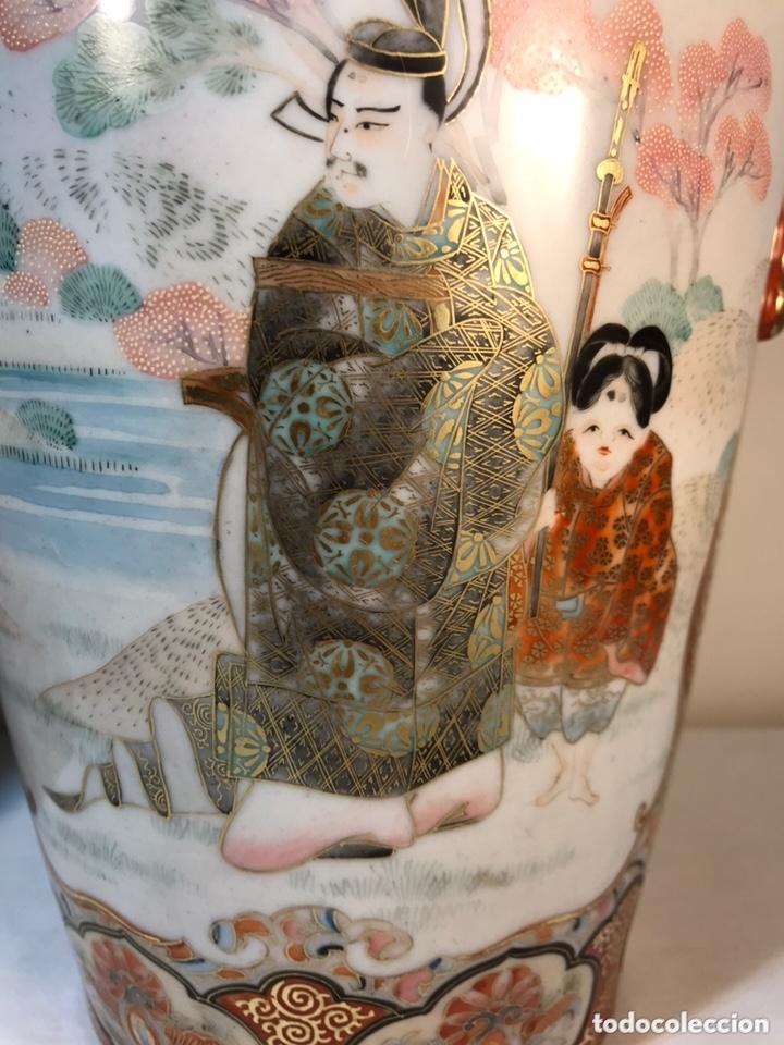 Antigüedades: 2 Jarrones Porcelana- Japón- Kutani- 33 cm - Foto 8 - 172779528