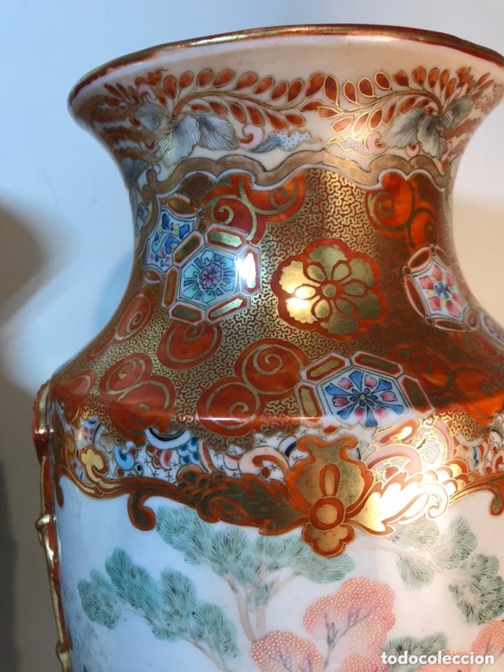 Antigüedades: 2 Jarrones Porcelana- Japón- Kutani- 33 cm - Foto 9 - 172779528
