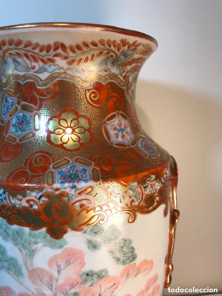 Antigüedades: 2 Jarrones Porcelana- Japón- Kutani- 33 cm - Foto 10 - 172779528