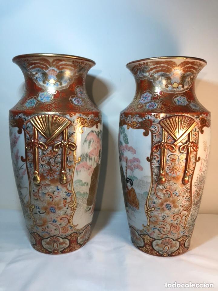 Antigüedades: 2 Jarrones Porcelana- Japón- Kutani- 33 cm - Foto 12 - 172779528
