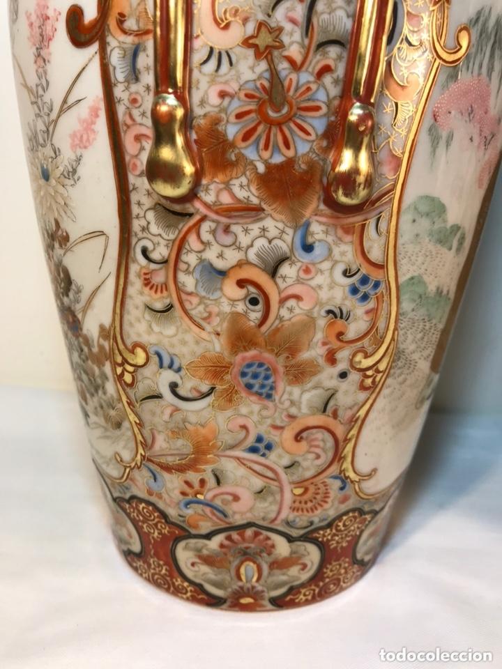Antigüedades: 2 Jarrones Porcelana- Japón- Kutani- 33 cm - Foto 13 - 172779528
