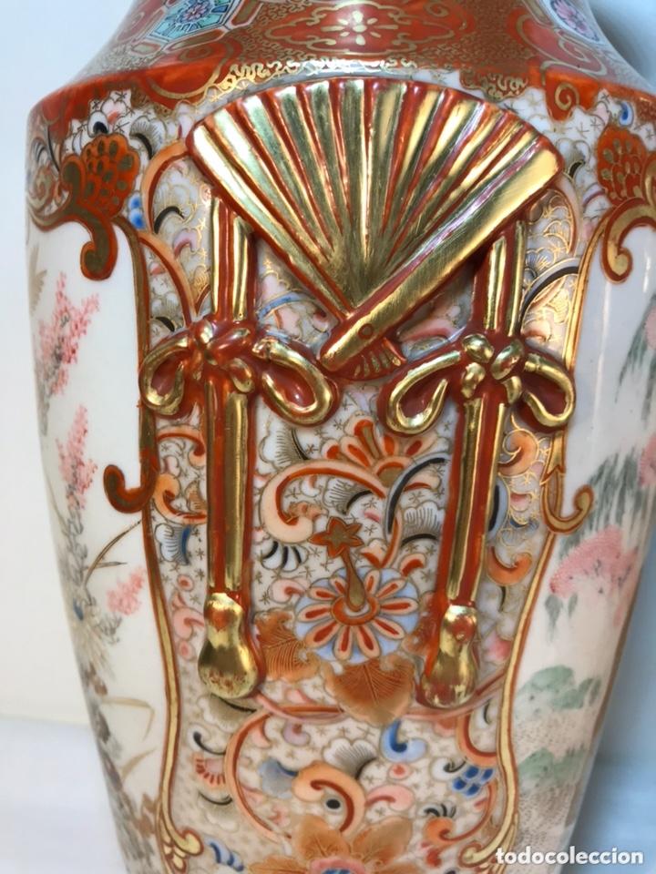 Antigüedades: 2 Jarrones Porcelana- Japón- Kutani- 33 cm - Foto 14 - 172779528