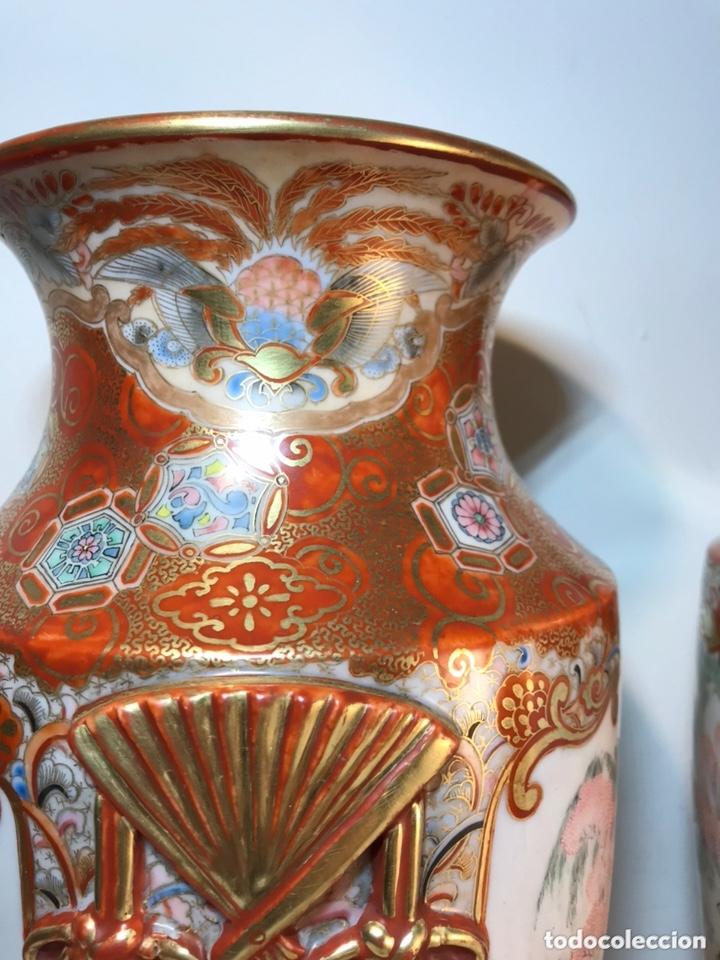 Antigüedades: 2 Jarrones Porcelana- Japón- Kutani- 33 cm - Foto 15 - 172779528