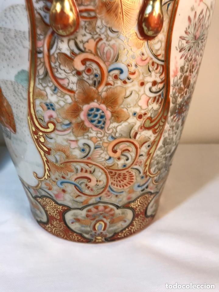 Antigüedades: 2 Jarrones Porcelana- Japón- Kutani- 33 cm - Foto 16 - 172779528