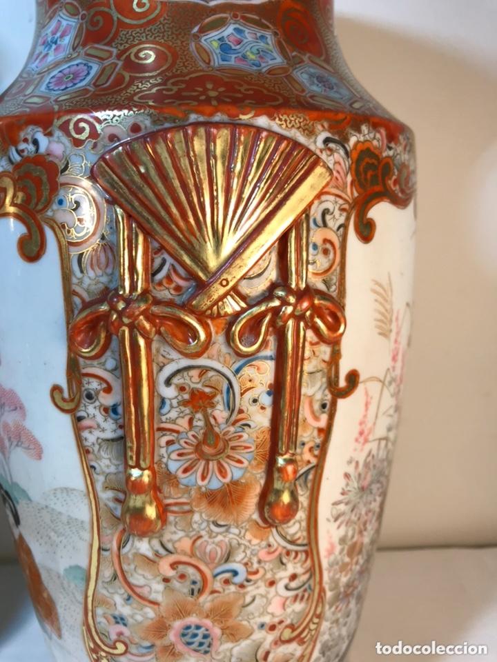 Antigüedades: 2 Jarrones Porcelana- Japón- Kutani- 33 cm - Foto 17 - 172779528