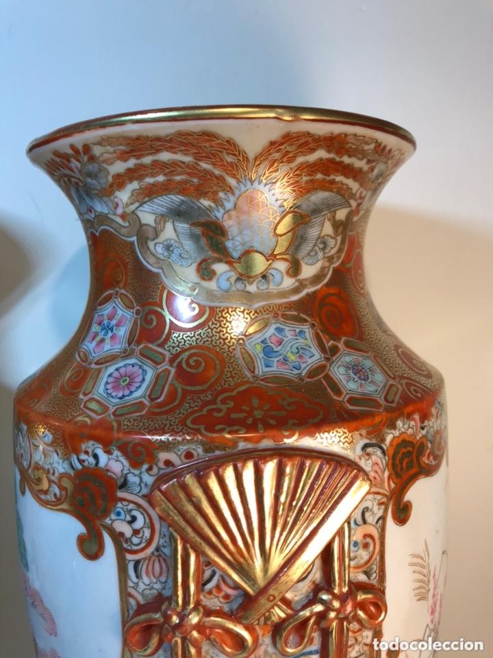 Antigüedades: 2 Jarrones Porcelana- Japón- Kutani- 33 cm - Foto 18 - 172779528