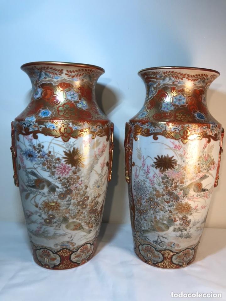 Antigüedades: 2 Jarrones Porcelana- Japón- Kutani- 33 cm - Foto 21 - 172779528