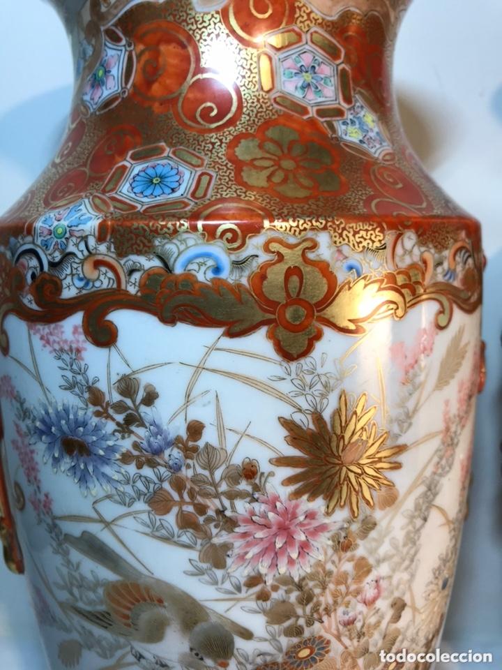 Antigüedades: 2 Jarrones Porcelana- Japón- Kutani- 33 cm - Foto 23 - 172779528