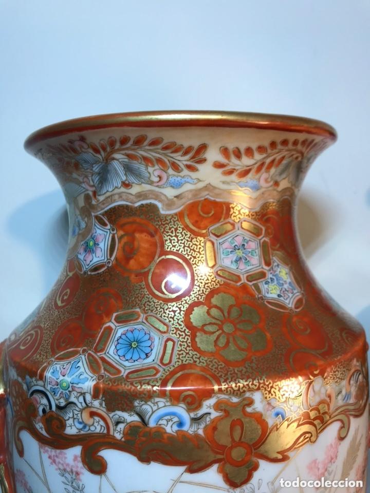 Antigüedades: 2 Jarrones Porcelana- Japón- Kutani- 33 cm - Foto 24 - 172779528