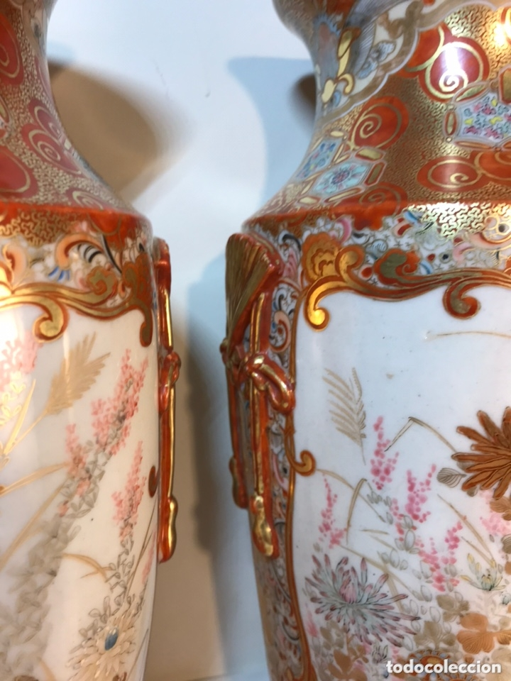Antigüedades: 2 Jarrones Porcelana- Japón- Kutani- 33 cm - Foto 26 - 172779528