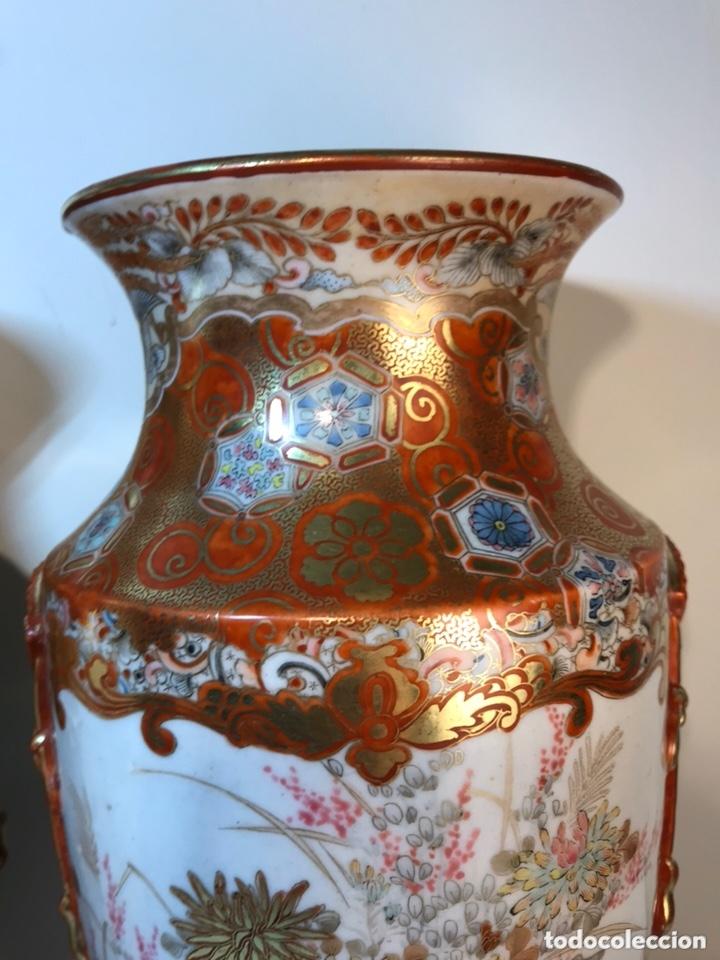 Antigüedades: 2 Jarrones Porcelana- Japón- Kutani- 33 cm - Foto 28 - 172779528