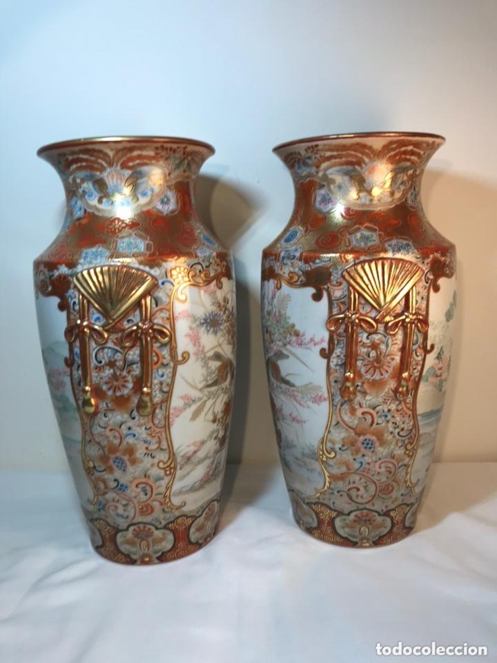 Antigüedades: 2 Jarrones Porcelana- Japón- Kutani- 33 cm - Foto 30 - 172779528