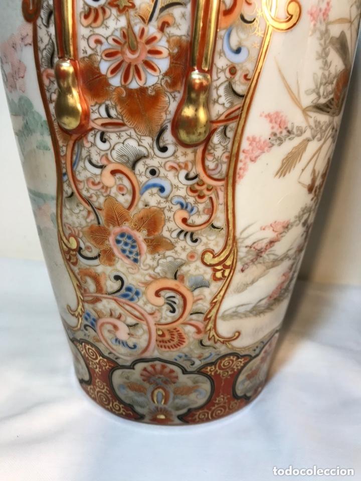 Antigüedades: 2 Jarrones Porcelana- Japón- Kutani- 33 cm - Foto 31 - 172779528