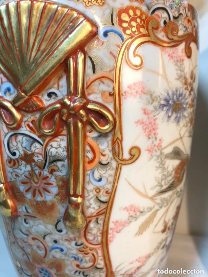 Antigüedades: 2 Jarrones Porcelana- Japón- Kutani- 33 cm - Foto 32 - 172779528