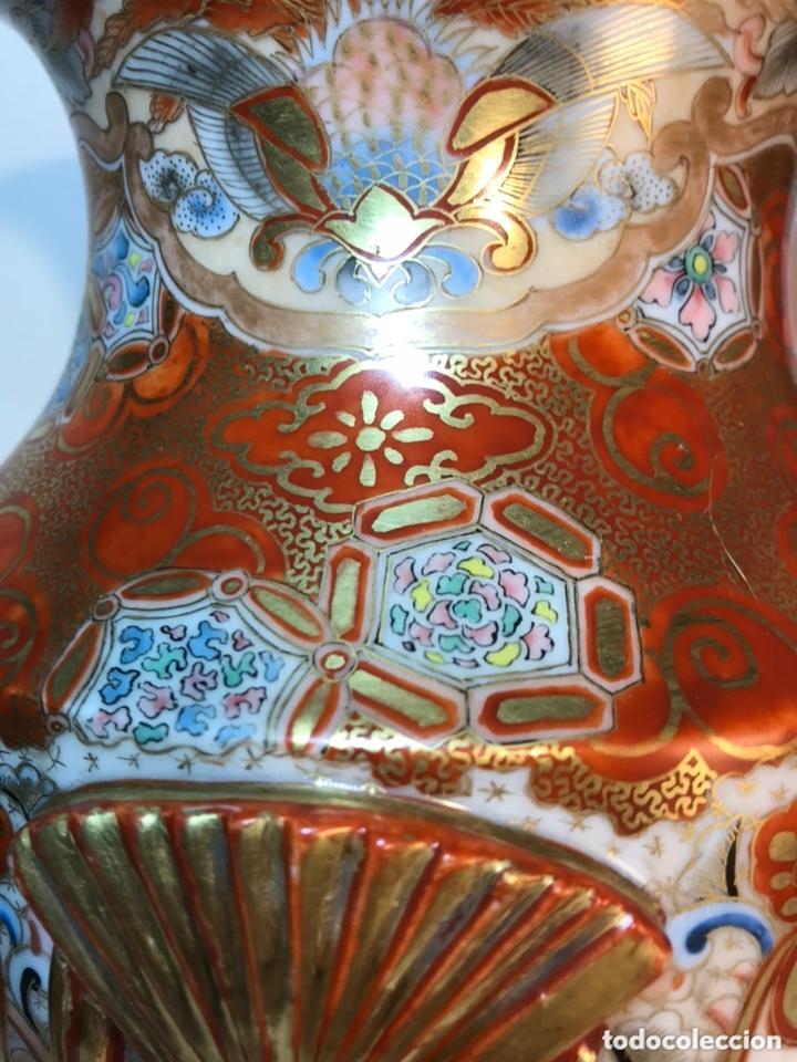 Antigüedades: 2 Jarrones Porcelana- Japón- Kutani- 33 cm - Foto 33 - 172779528