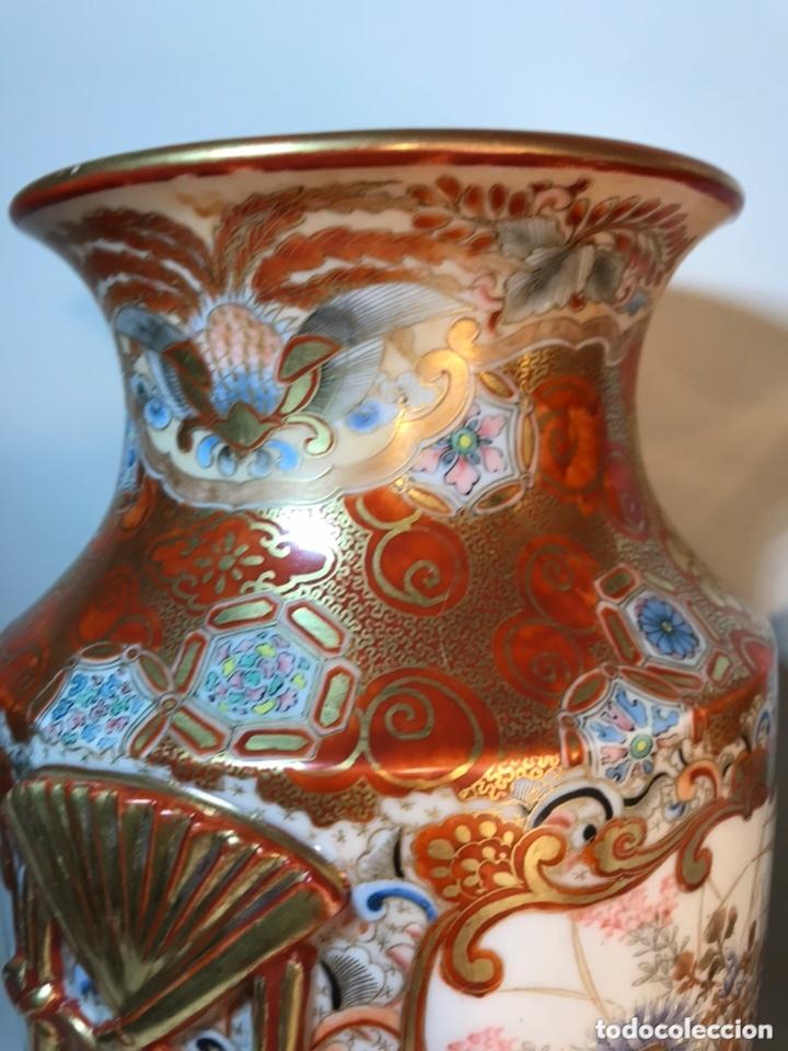 Antigüedades: 2 Jarrones Porcelana- Japón- Kutani- 33 cm - Foto 34 - 172779528