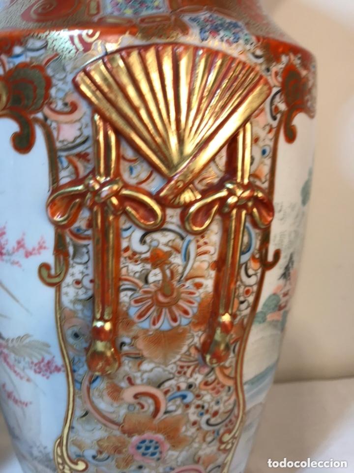 Antigüedades: 2 Jarrones Porcelana- Japón- Kutani- 33 cm - Foto 36 - 172779528