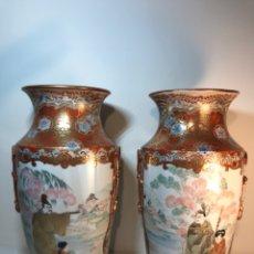 Antigüedades: 2 JARRONES PORCELANA- JAPÓN- KUTANI- 33 CM. Lote 172779528